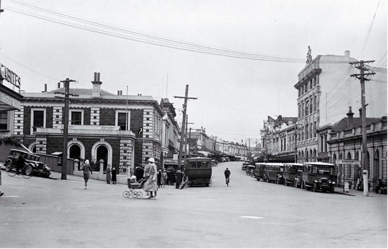 Looking north up Stafford Street, Timaru, from where it intersects with George Street