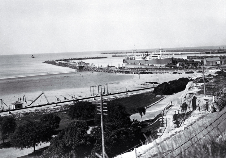 A view of the Port of Timaru from the promenade above Caroline Bay