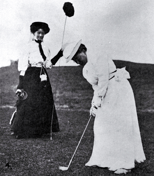 Miss Campbell on the Shirley Links when taking part in the Christchurch Golf Club's Easter Tournament [Apr. 1908]