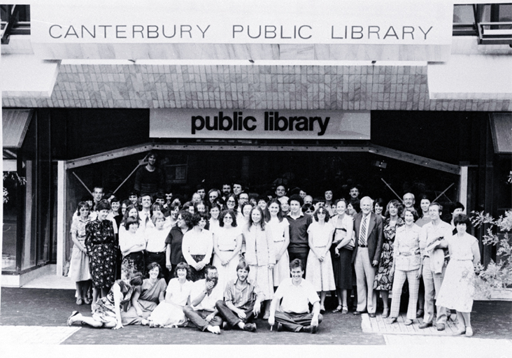 Canterbury Public Library staff outside the new library building on the corner of Gloucester Street and Oxford Terrace