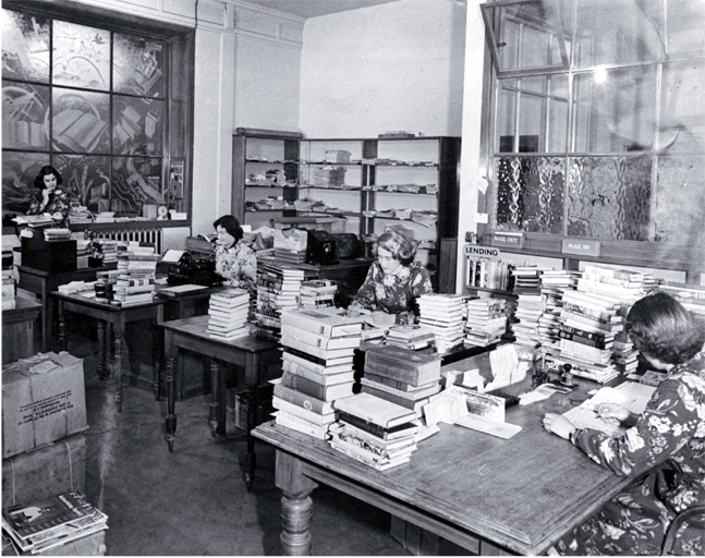 Cataloguing and processing staff of the Canterbury Public Library in their workroom in Cambridge Terrace