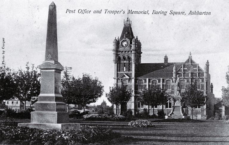 The Trooper's Memorial, Baring Square, Ashburton, with the second Post Office in the background