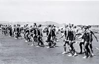 Senior 6-man teams at Canterbury Surf Life-Saving Association's third carnival at North Beach, 4 Feb. 1962