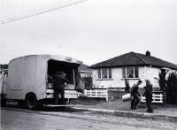 Rubbish day in a Christchurch suburb : Christchurch City Council refuse collection. [ca. 1960]