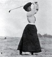 Miss Roberts in full swing on the Shirley Links in the Christchurch Golf Club's Easter Tournament [Apr. 1908]