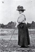 Mrs Stead preparing her shot when competing in the Christchurch Club's Easter Tournament held on the Shirley Links