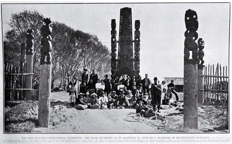 New Zealand International Exhibition 1906 1907 The Maori Residents Of Te Araiteuru Pa With Mr G Mcgregor Maxwelltown Anui