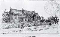 Photo of a drawing of St. Michael's Church, Christchurch [ca. 1885]