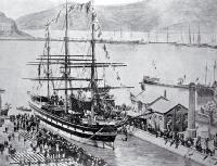 Lyttelton Harbour, showing sailing ship[ca. 1921]