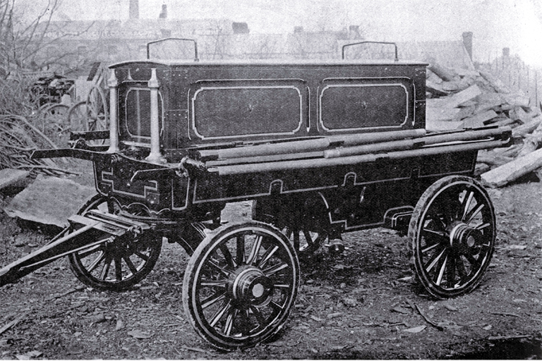 Manual fire engine manufactured by Peter M. Johnston, machinist, wheel-wright & general smith, 77 Montreal Street, Christchurch