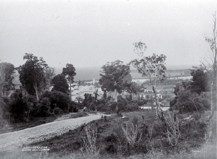 Looking across Geraldine from Priest's Hill towards Albert Street in the town centre, South Canterbury