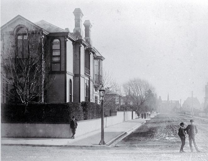 The Canterbury Club on the corner of Worcester Street and Cambridge Terrace : in background is Canterbury Museum