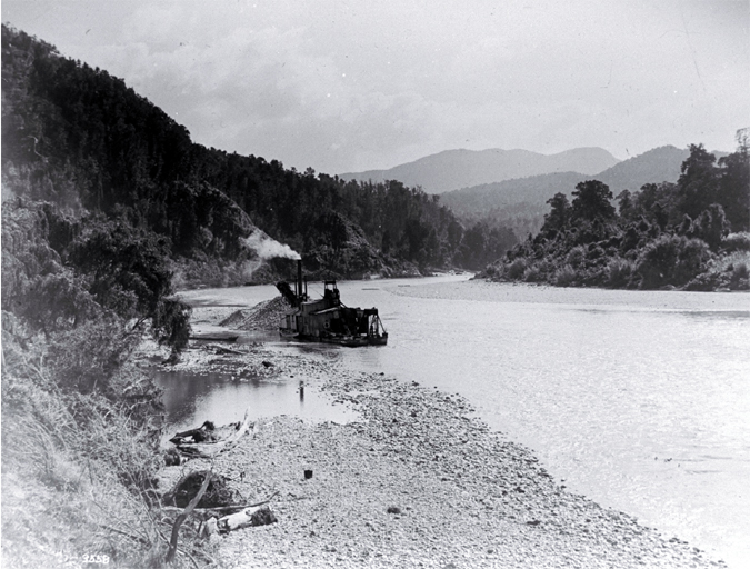 A gold dredge on the Buller River, West Coast [picture