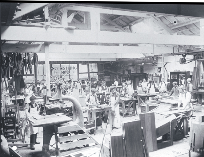 Sash and door factory with workers