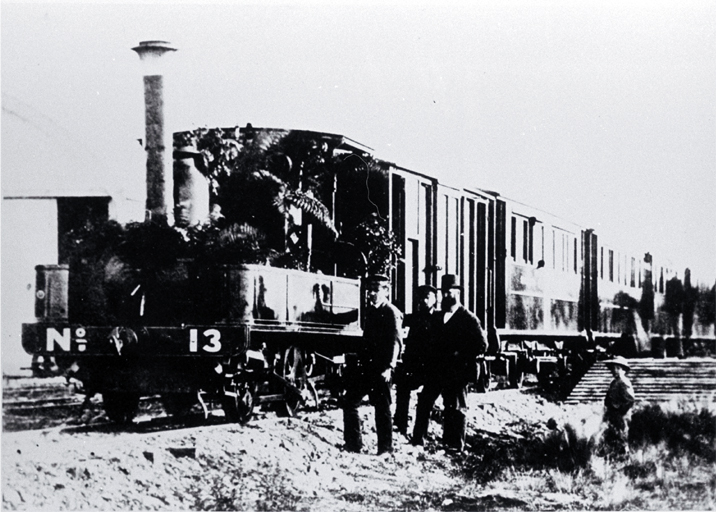 An A class 0-4-OT locomotive, no. 13, at the opening of the branch line to Waimate
