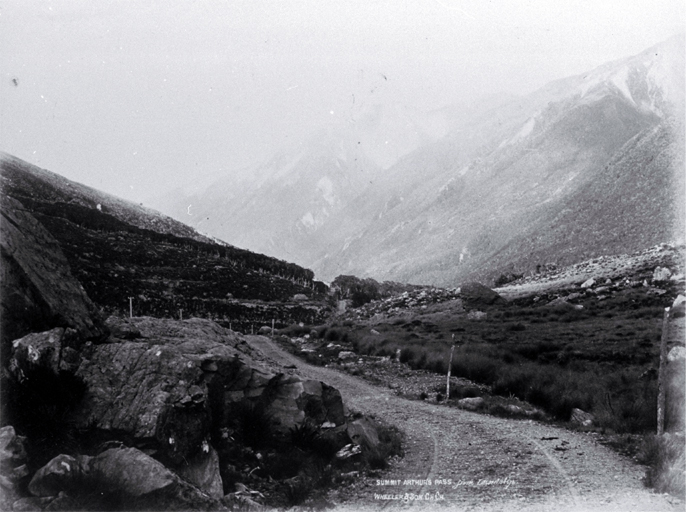The summit of Arthur's Pass, discovered by Arthur Dudley Dobson (1841-1934) in 1864