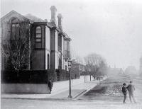 Photo of The Canterbury Club on the corner of Worcester Street and Cambridge Terrace : in background is Canterbury Museum [ca. 1882]