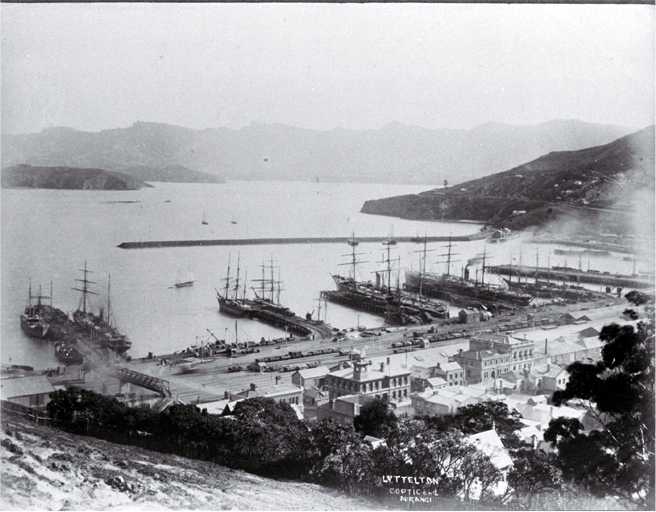 Lyttelton Harbour with the steamers Aorangi (New Zealand Shipping Co.) & Coptic (Shaw Savill Line)
