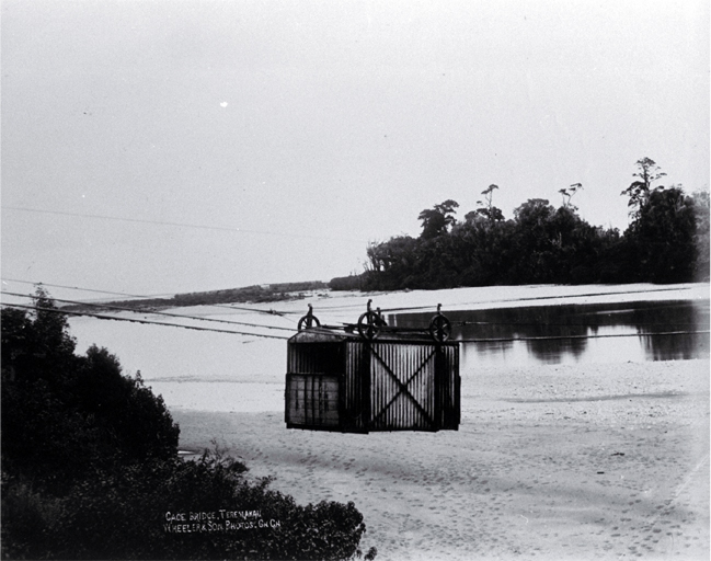 The cage bridge across the Taramakau River near Kumara, Westland