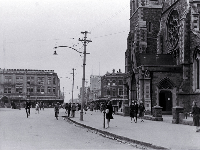 Pedestrians in Cathedral Square, looking up Colombo Street north, Christchurch