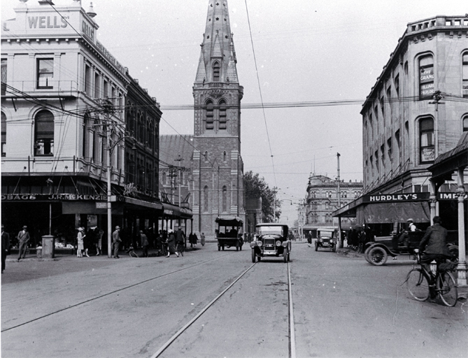 Looking south down Colombo Street through Cathedral Square from the corner of Gloucester and Colombo Street, Christchurch