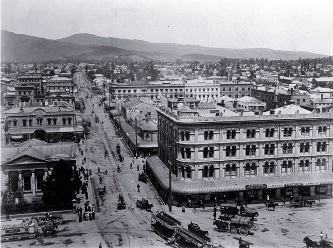 Bank of New Zealand, Morten's Building, and the commercial block of Colombo Street looking south from the Cathedral