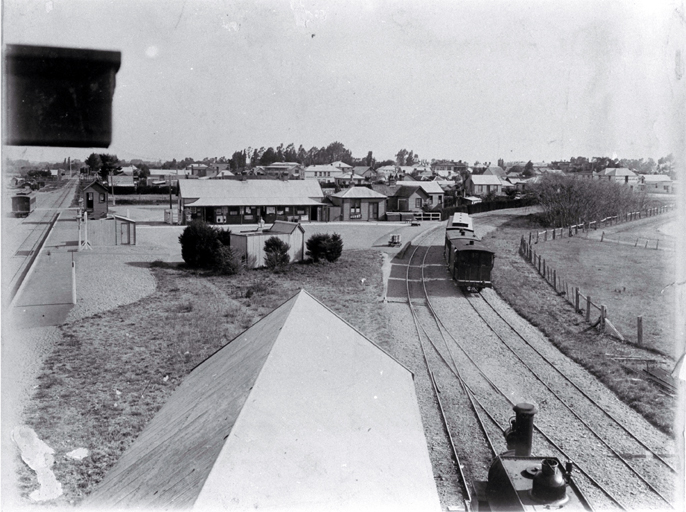 Rail junction of the main north line & the Oxford line at Rangiora, North Canterbury, with the town at centre