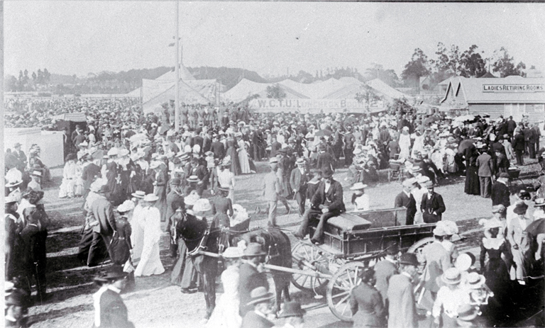 A view of the crowd attending the Canterbury Agricultural and Pastoral Association's Metropolitan Show, held at the Addington Showgrounds
