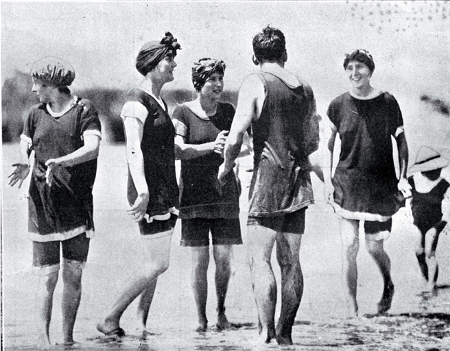A group of young bathers in bathing costumes [16 Dec. 1918]