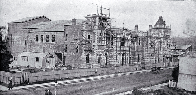 Photograph of Construction of the Agricultural and Industrial Hall (later the City Municipal Chambers) in Manchester Street