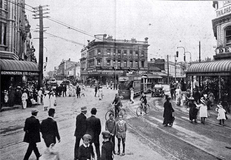 A busy spot in Christchurch, at the junction of High and Cashel Streets : in the centre is the Hallensteins Building.