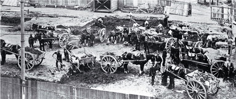 Excavating the site of the Tramway Offices for the new Government Buildings, Christchurch, using horses and carts