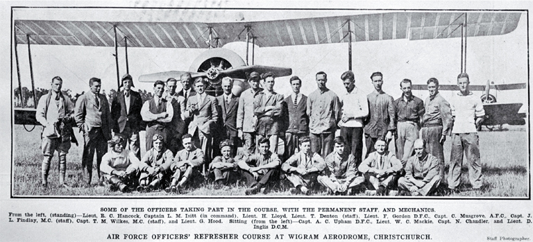 Some of the officers take part in a refresher course at Wigram Aerodrome, Christchurch, in front of an Avro 504K