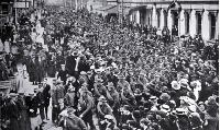 The march of the 16th Infantry to reinforce the ANZACS through Manchester Street to Railway Station, Christchurch