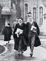 Photograph of Undergraduate students in gowns in the quadrangle on their way to lecture rooms, Canterbury College [1926?]