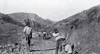 Roadmen building the Summit Road. 1910?