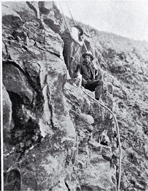 Construction of the road at Morgan's Valley, Heathcote, showing the difficulties that had to be overcome