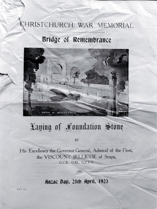 Poster advertising the laying of the foundation stone of the Bridge of Remembrance