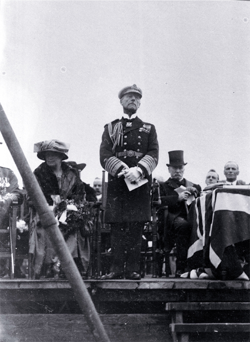 Lord Jellicoe makes his speech, laying of the foundation stone, Bridge of Remembrance