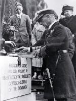 Lord Jellicoe completes the levelling of the foundation stone of the Bridge of Remembrance