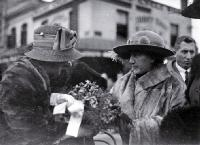 Lady Jellicoe chatting with (possibly) Mrs Wyn Irwin after the proceedings of the laying of the foundation stone, Bridge of Remembrance