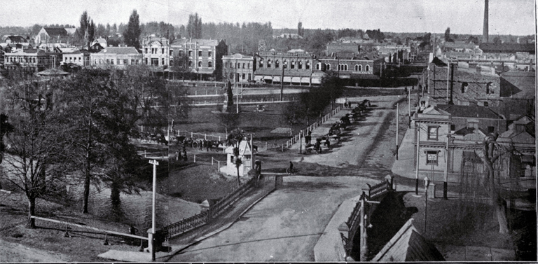 Victoria Square, Christchurch, 1910 : a panorama looking towards the north-east. [1910]