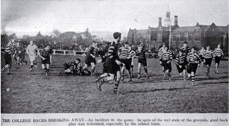 Christ's College versus Christchurch Boys' High School : shown in the annual School-College rugby match.
