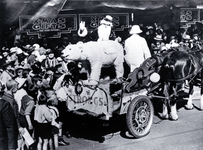 Father Christmas on T. Armstrong & Co's Christmas float