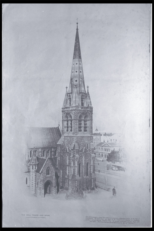 The bell tower and spire, Christchurch Cathedral