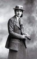 Mounted photograph by Standish and Preece of Ngaio Marsh (school prefect) in her St. Margaret's College school uniform