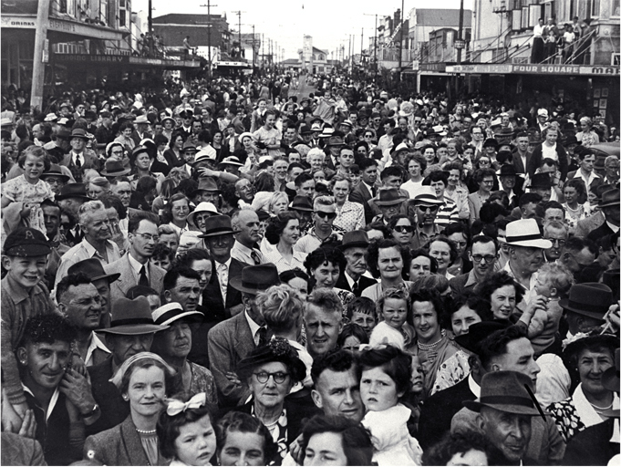Spectators during the ceremony marking the running of the last New Brighton tram before the conversion of the line to bus operation