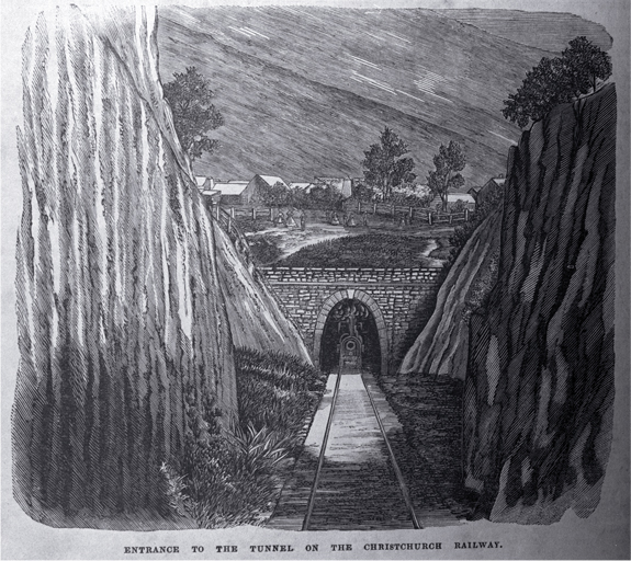 Entrance to a tunnel on the Christchurch railway