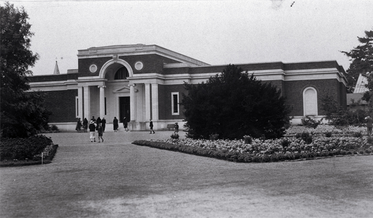 The entrance to the Robert McDougall Art Gallery in the Botanic Gardens, which was opened on 16 June 1932