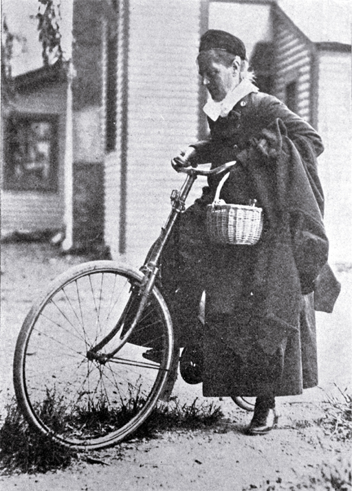 A nurse on bicycle